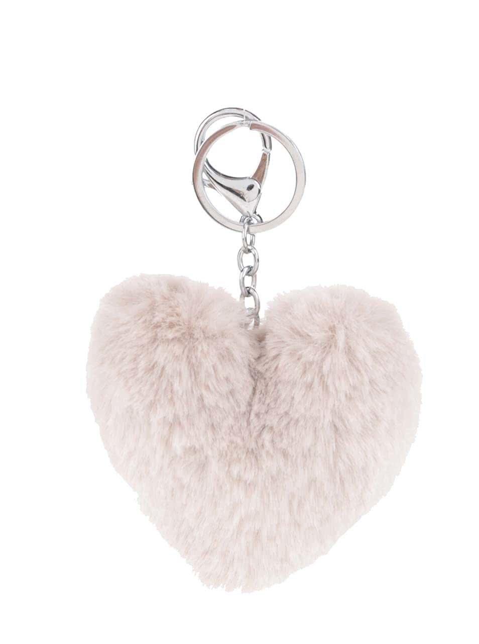 Krémový přívěšek ve tvaru srdce Haily's Pompom