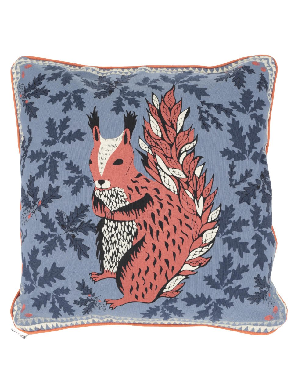 Modrý polštář s potiskem veverky Disaster
