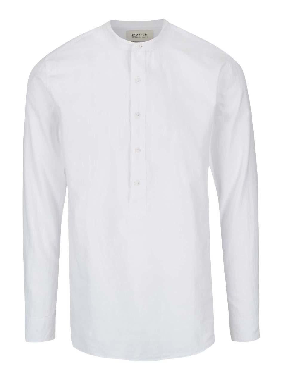 Bílá košile bez límečku ONLY & SONS Placket