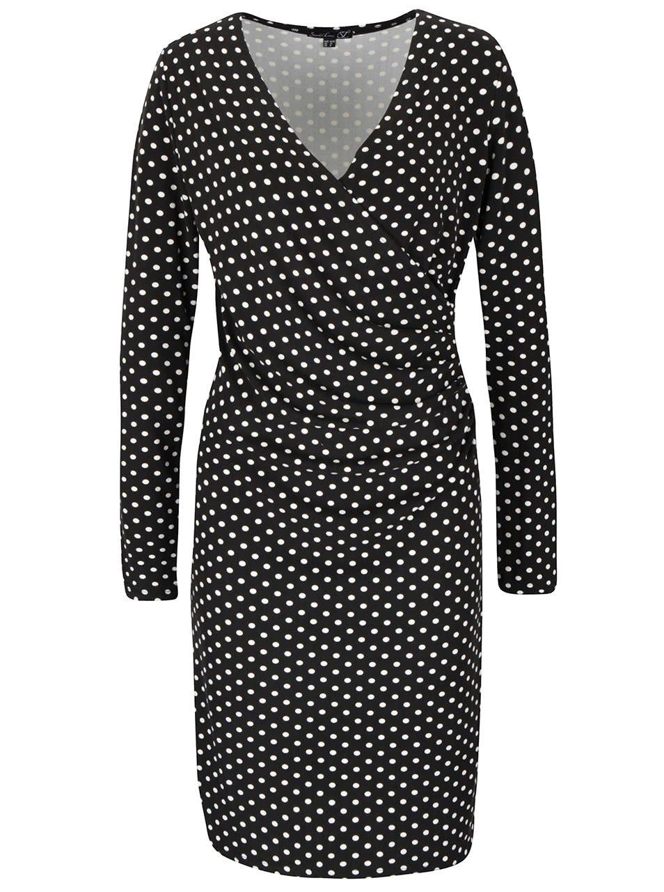 Černé puntíkované šaty s překládaným dekoltem Smashed Lemon