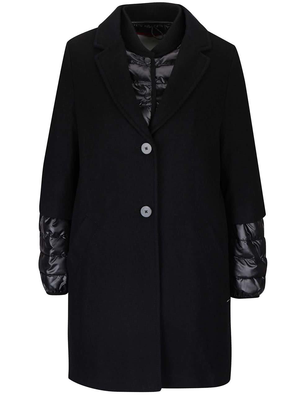 Černý dámský vlněný kabát s bundou 2v1 s.Oliver