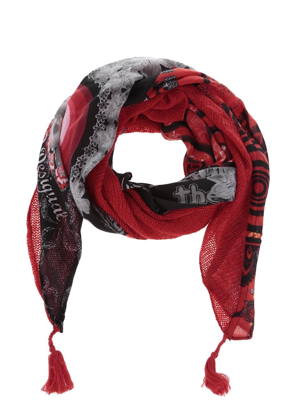 Šedo-červený vzorovaný šátek Desigual Canada