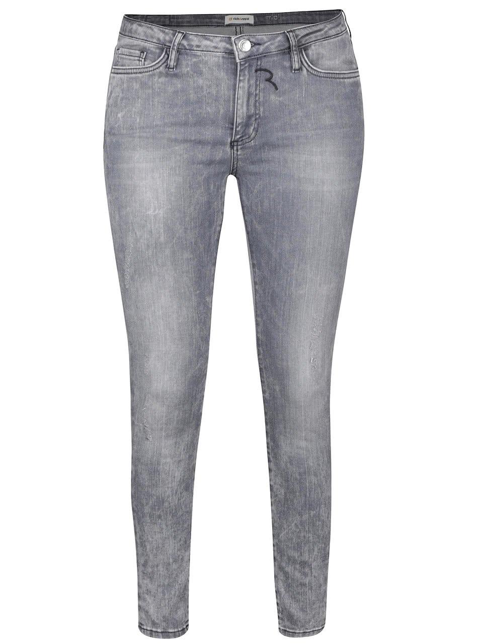 Světle šedé skinny džíny s vyšisovaným efektem Rich & Royal