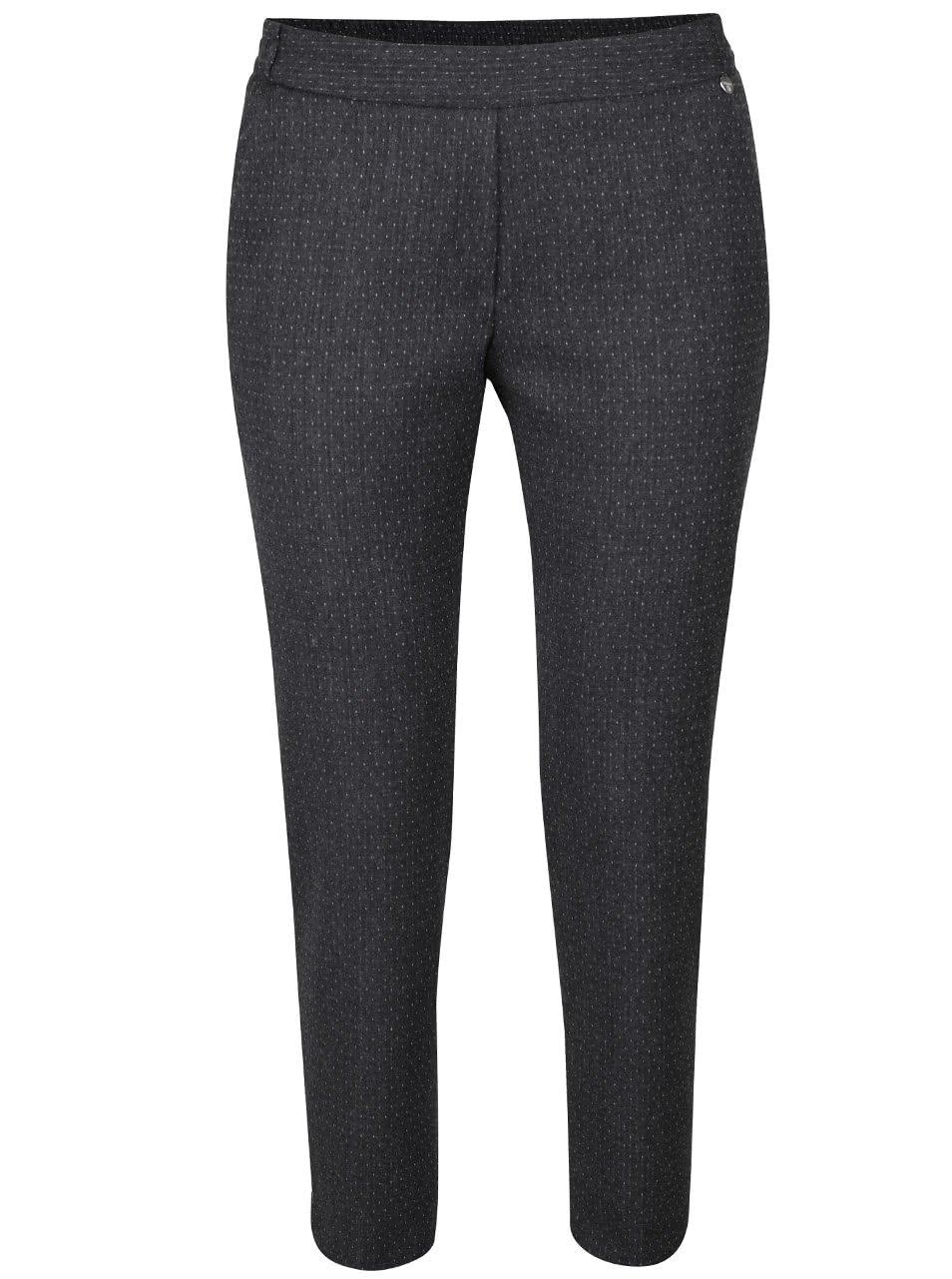 Tmavě šedé volnější kalhoty s jemným vzorem Rich & Royal