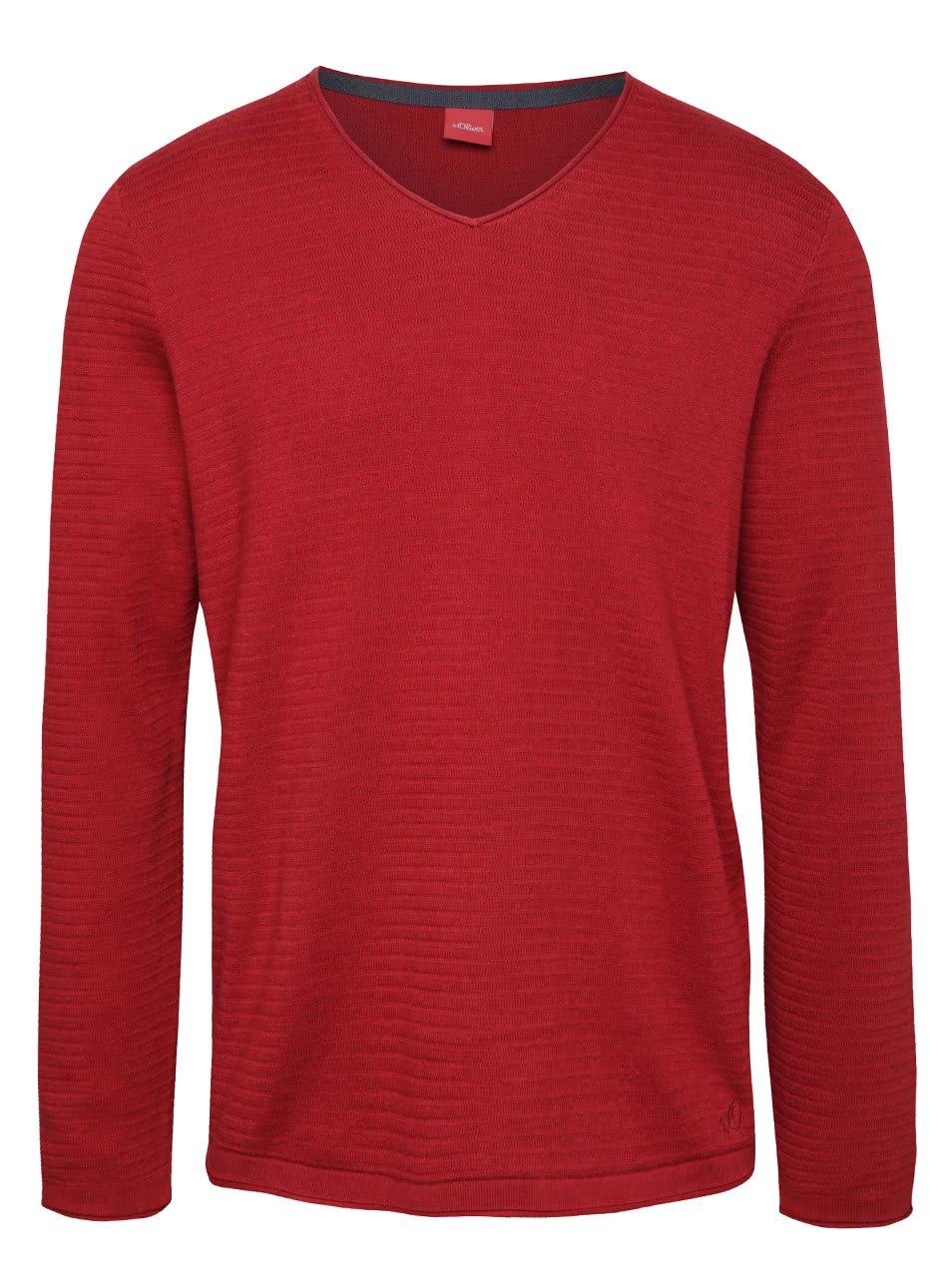 Červený pánský svetr s véčkovým výstřihem s.Oliver