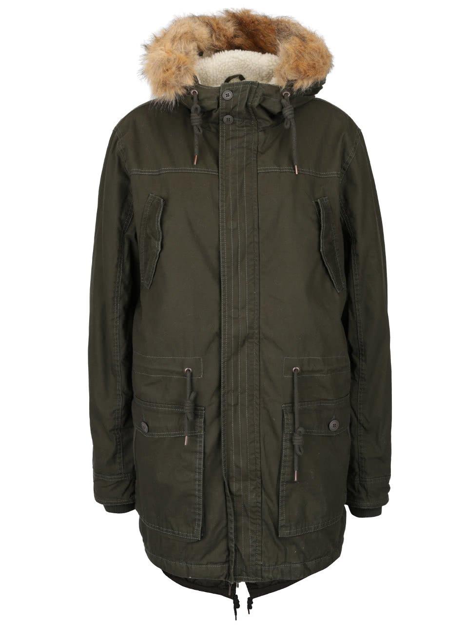 Khaki zimní parka s kapucí s umělým kožíškem !Solid Detroit