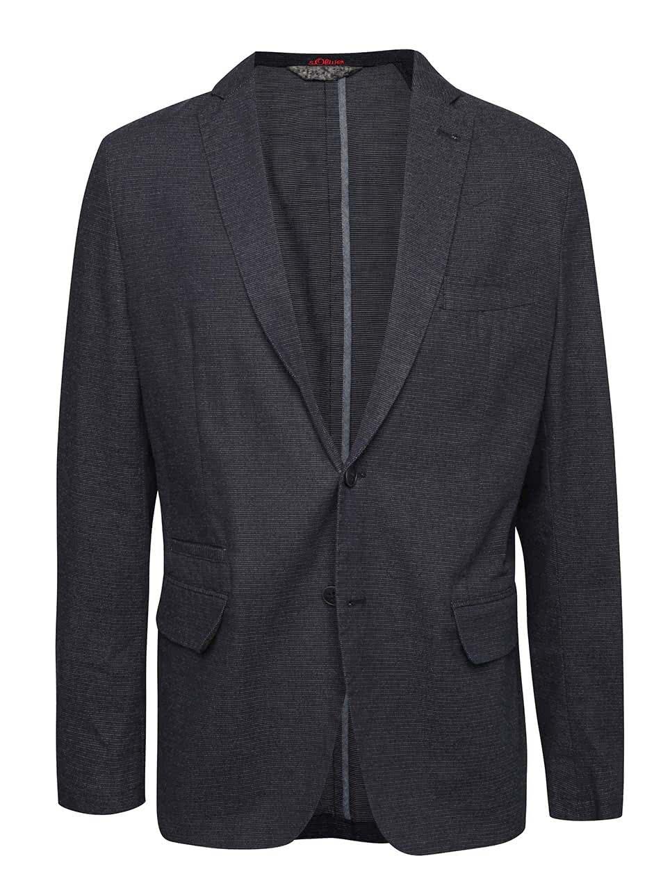 Tmavě modrý pánský blejzr sako s.Oliver