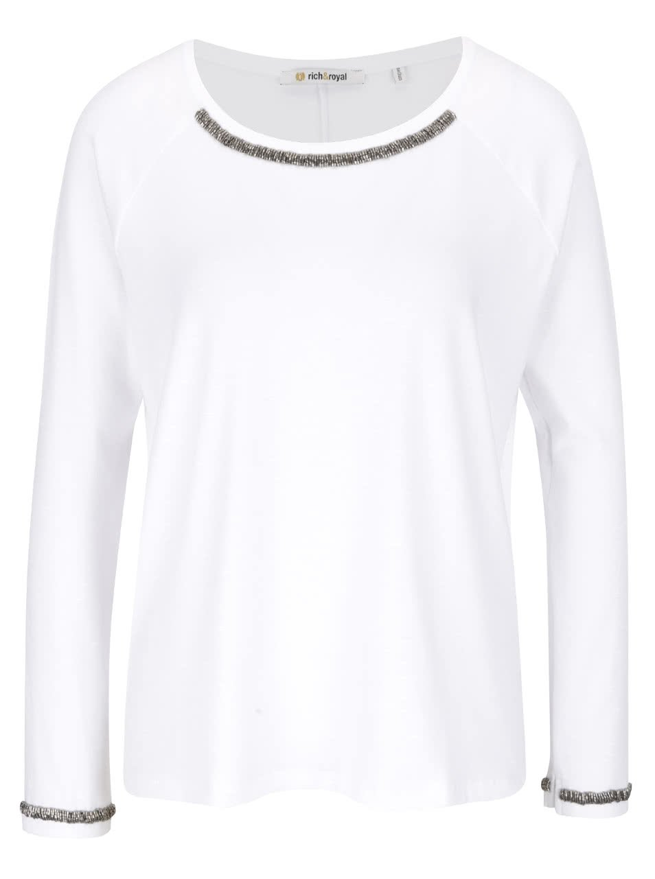 Bílý top s aplikací ve stříbrné barvě Rich & Royal