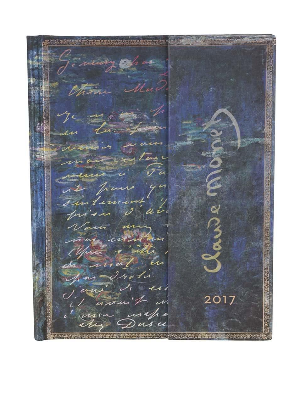 Modrý diář na rok 2017 Paperblanks Monet Letter to Morisot Ultra