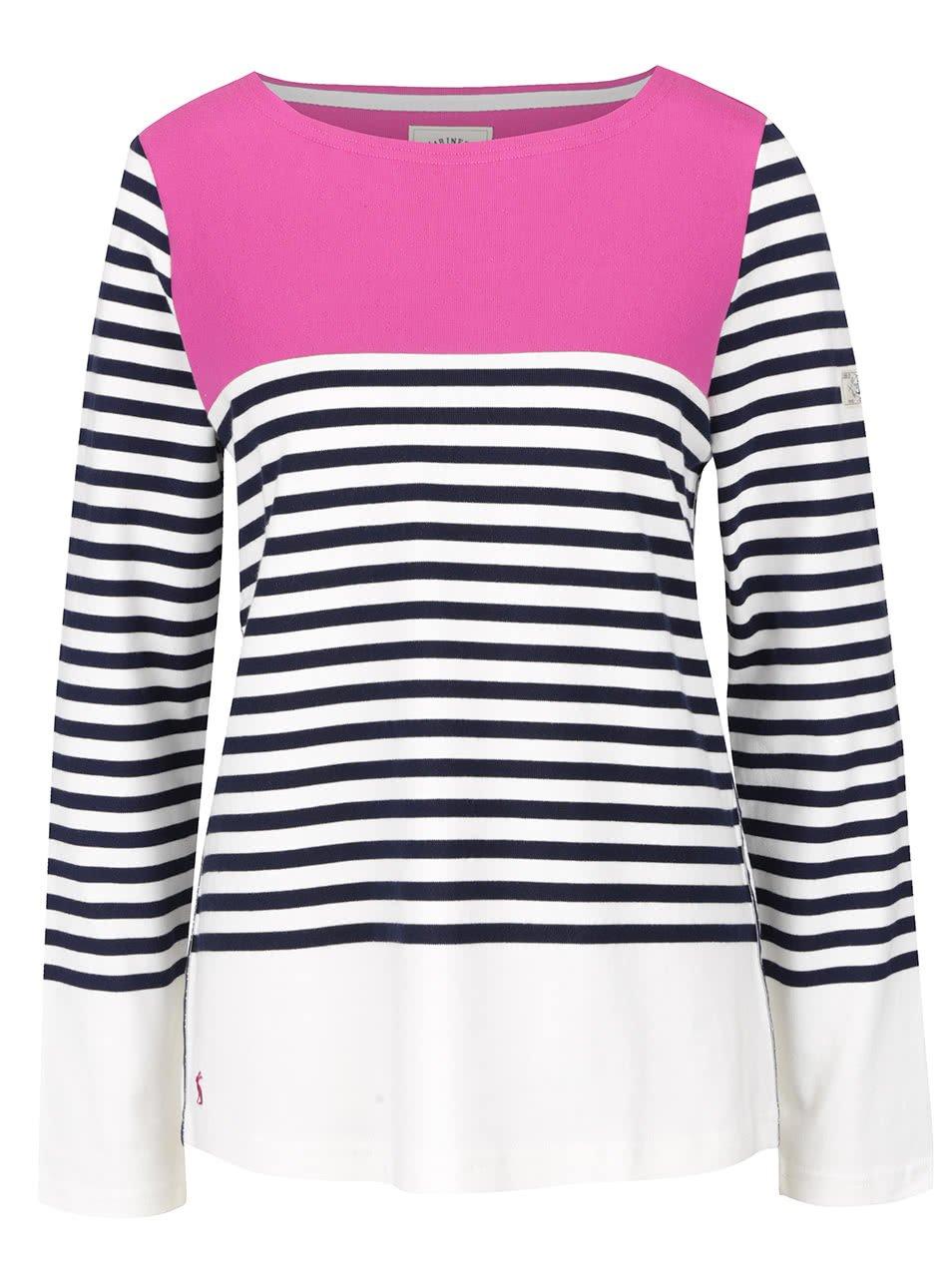 Růžovo-krémové dámské pruhované tričko s dlouhým rukávem Tom Joule Harbour