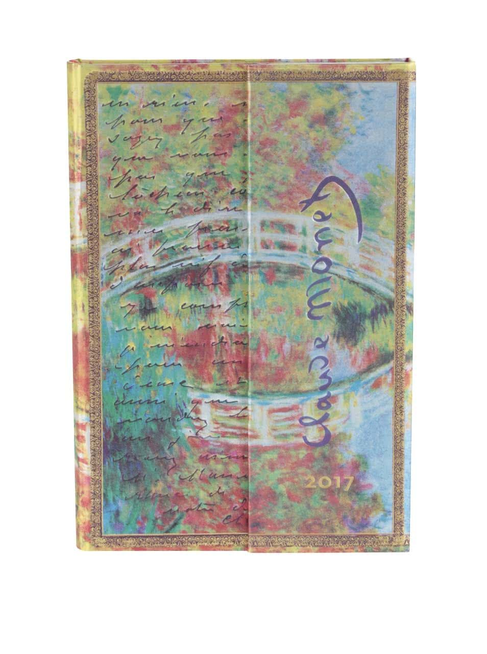 Modro-zelený diář na rok 2017 Paperblanks Monet Letter to Morisot Mini