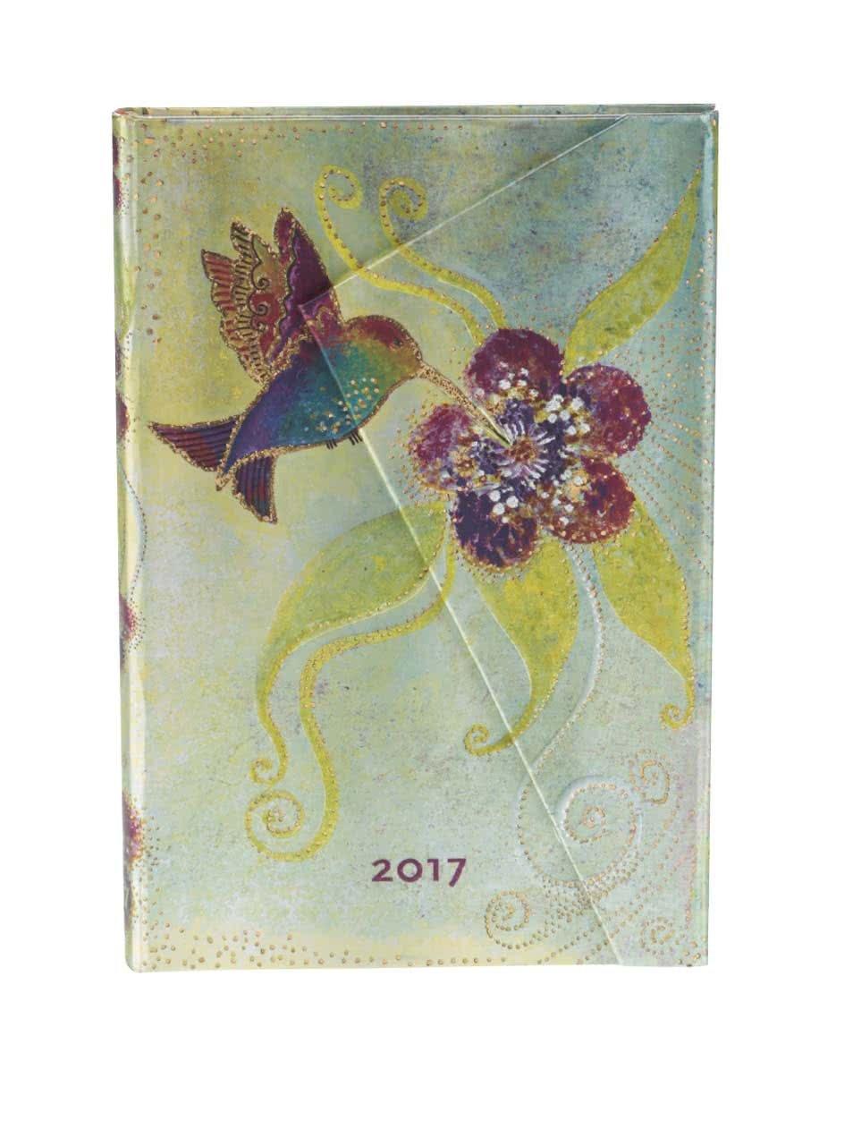 Růžovo-zelený diář s kolibříkem na rok 2017 Paperblanks Hummingbird Mini