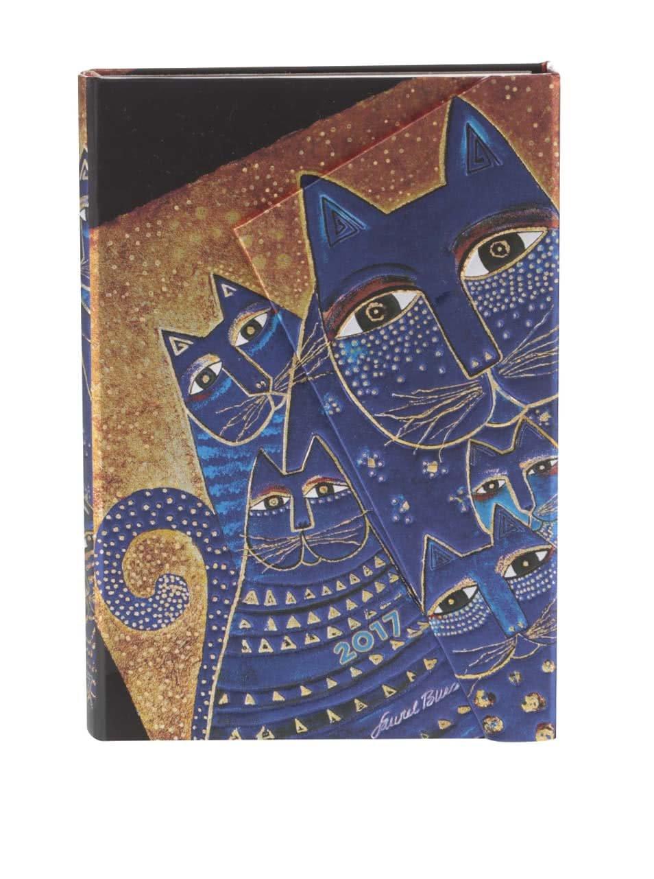 Zlato-modrý diář na rok 2017 Paperblanks Mediterranean Cats Mini