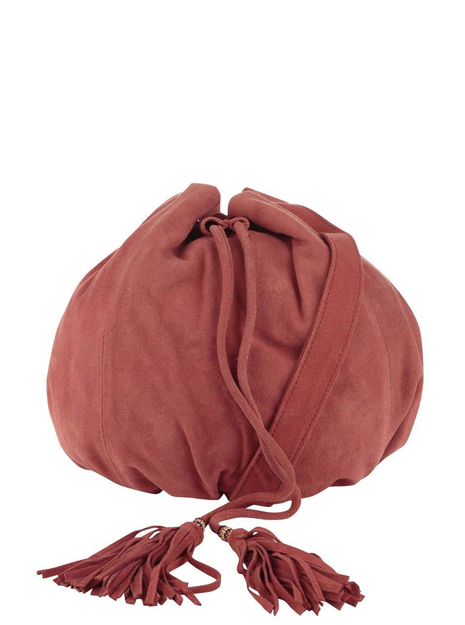 Červený kožený vak přes rameno s ozdobnou třásní Pieces Janini