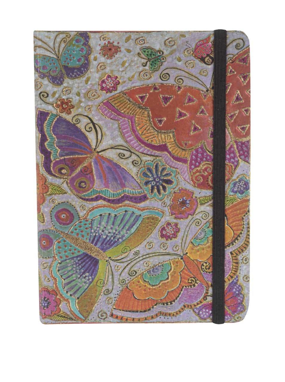 Barevný linkovaný zápisník s potiskem motýlů Paperblanks Flutterbyes Midi