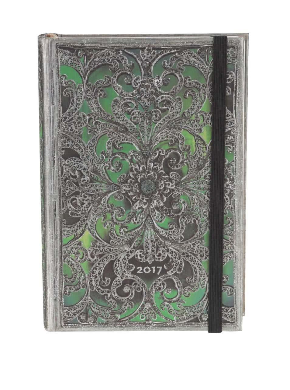 Stříbrno-zelený diář na rok 2017 Paperblanks Esmeralda Mini