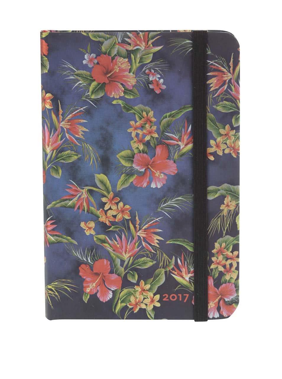 Tmavě modrý květovaný diář na rok 2017 Paperblanks Laulima Mini