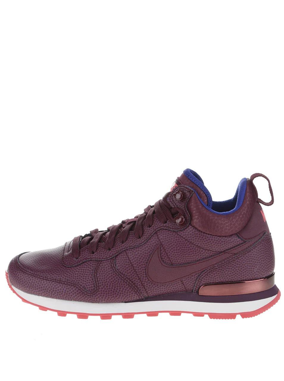 Vínové kožené dámské kotníkové tenisky Nike Internationalist Mid Leather