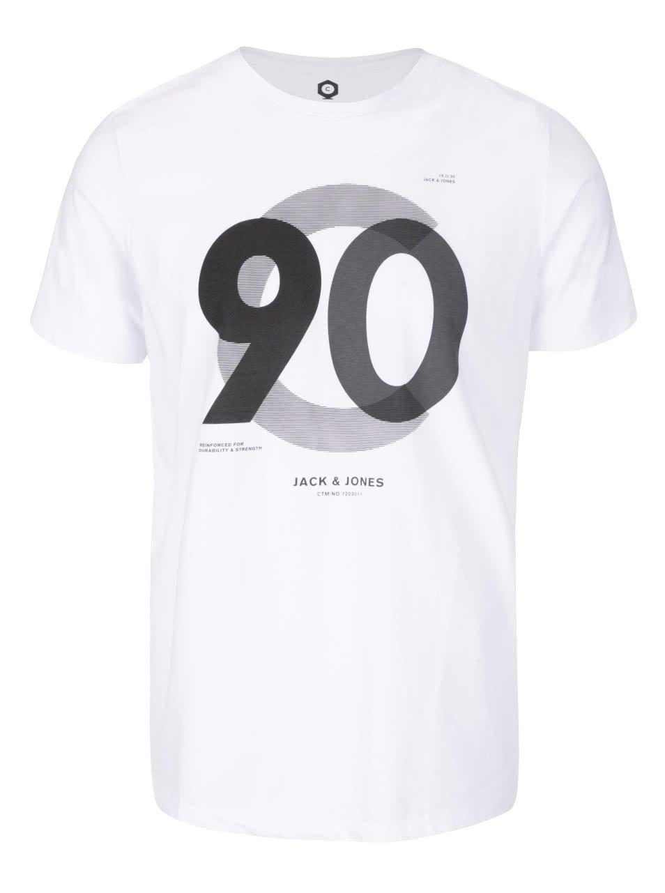 Bílé triko s potiskem Jack & Jones Numbers