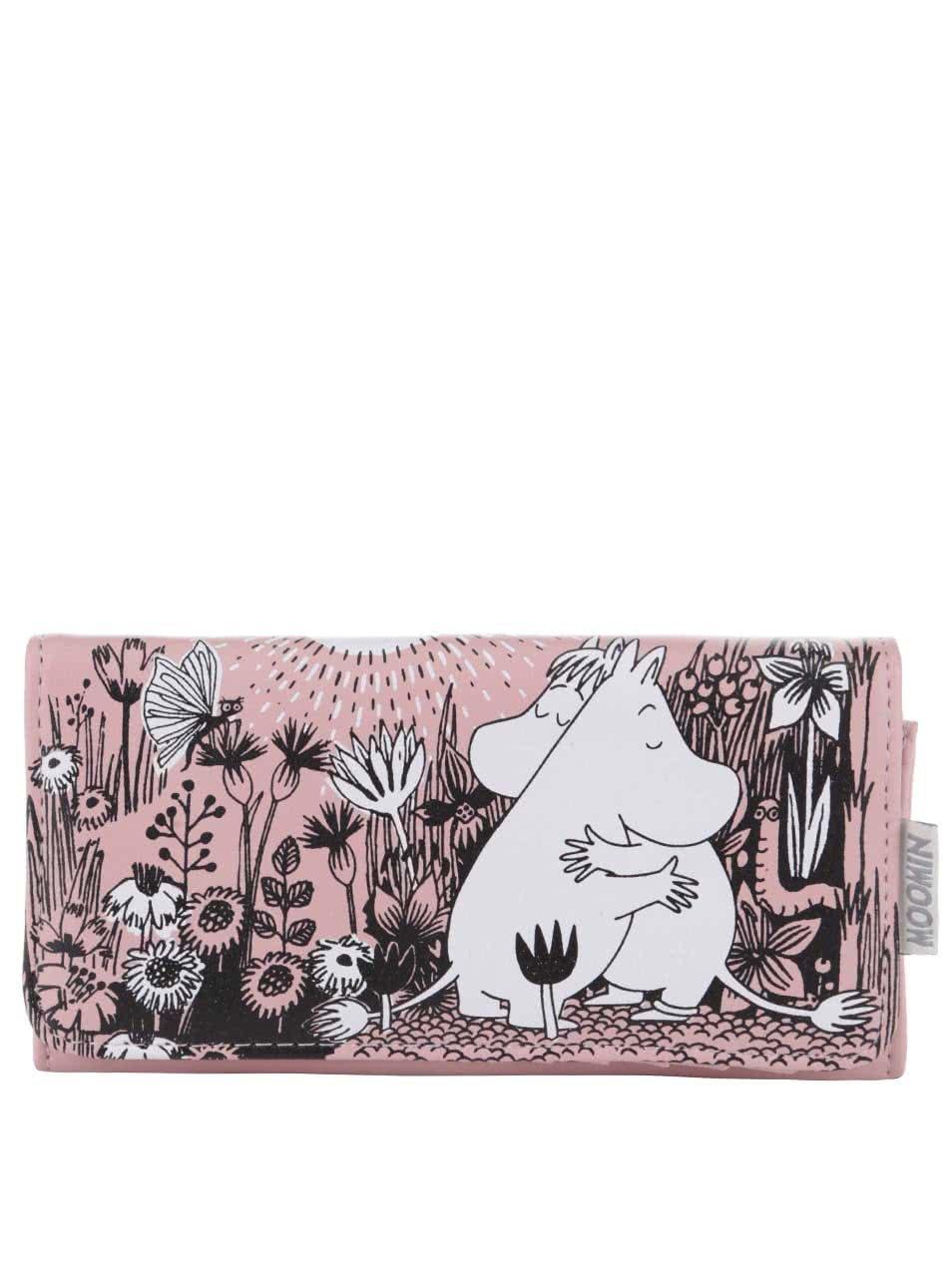 Světle růžová peněženka s potiskem Disaster
