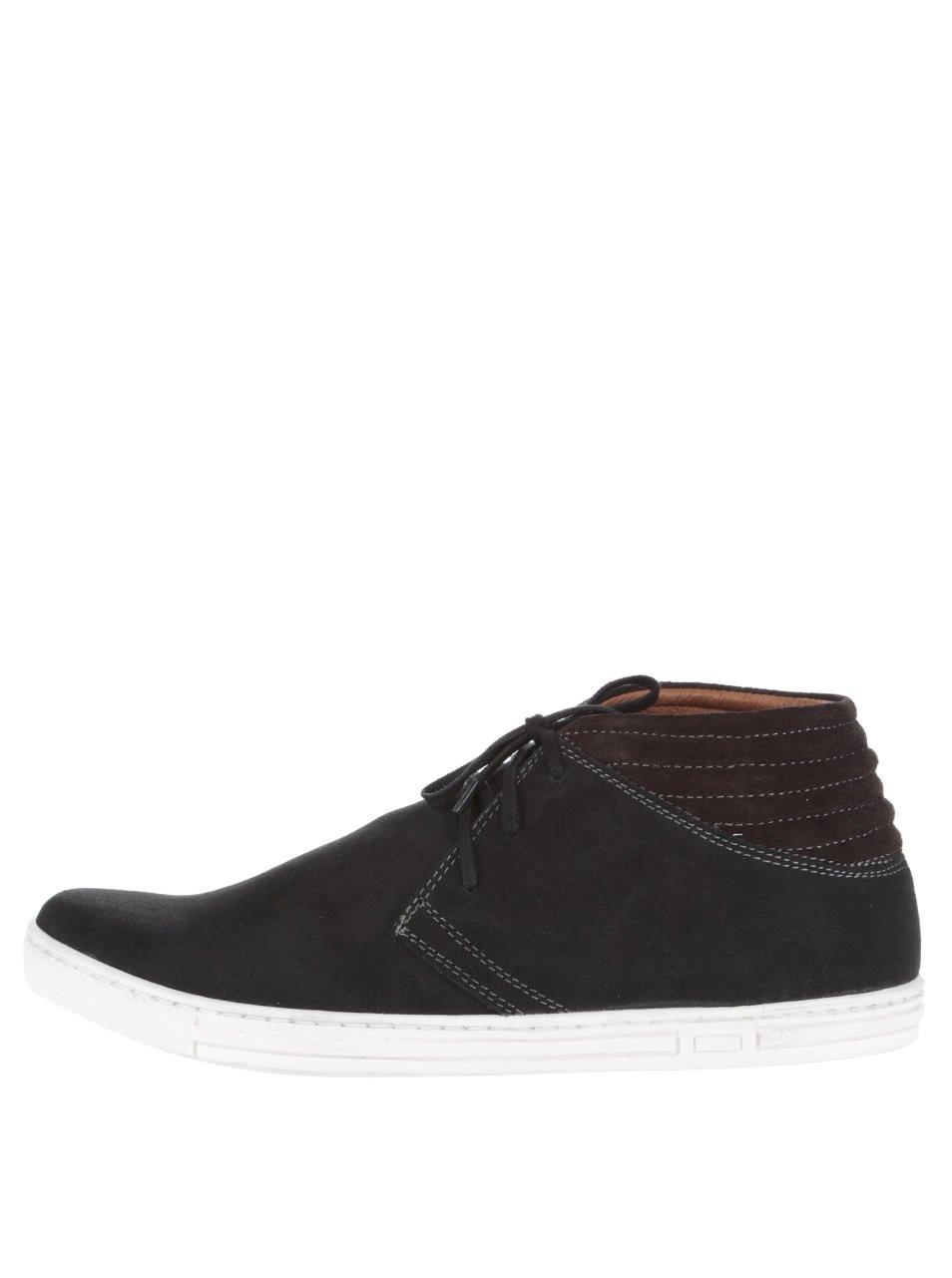 Hnědo-černé pánské semišové kotníkové boty OJJU