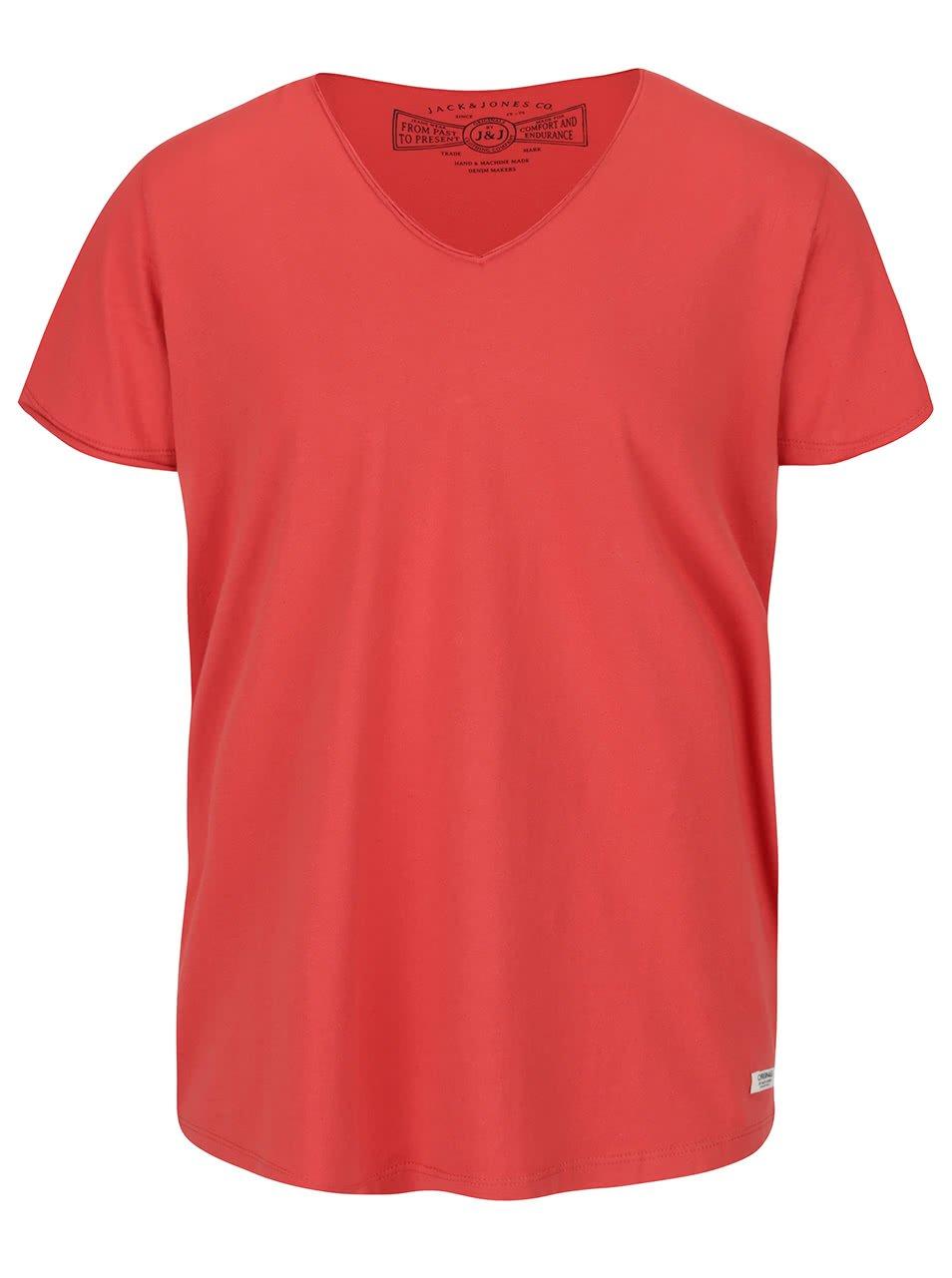 Oranžové triko s véčkovým výstřihem Jack & Jones Wolf