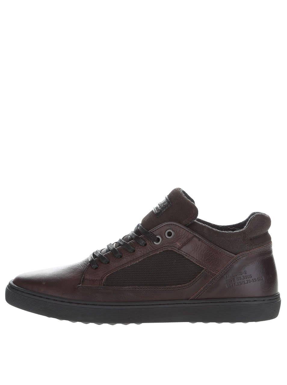 Tmavě hnědé pánské kožené tenisky boty Bullboxer