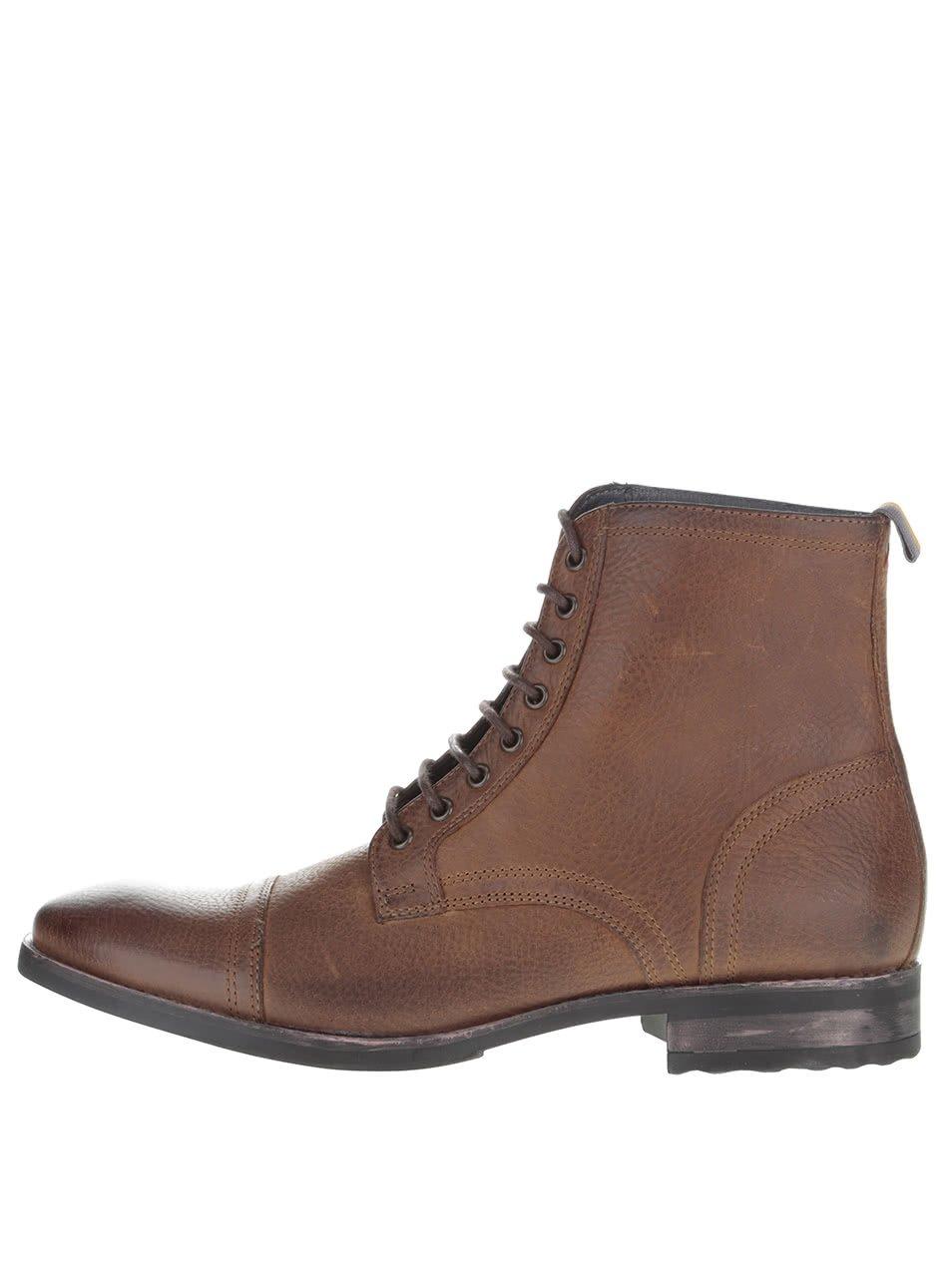 Tmavě hnědé kožené kotníkové boty Frank Wright Marris