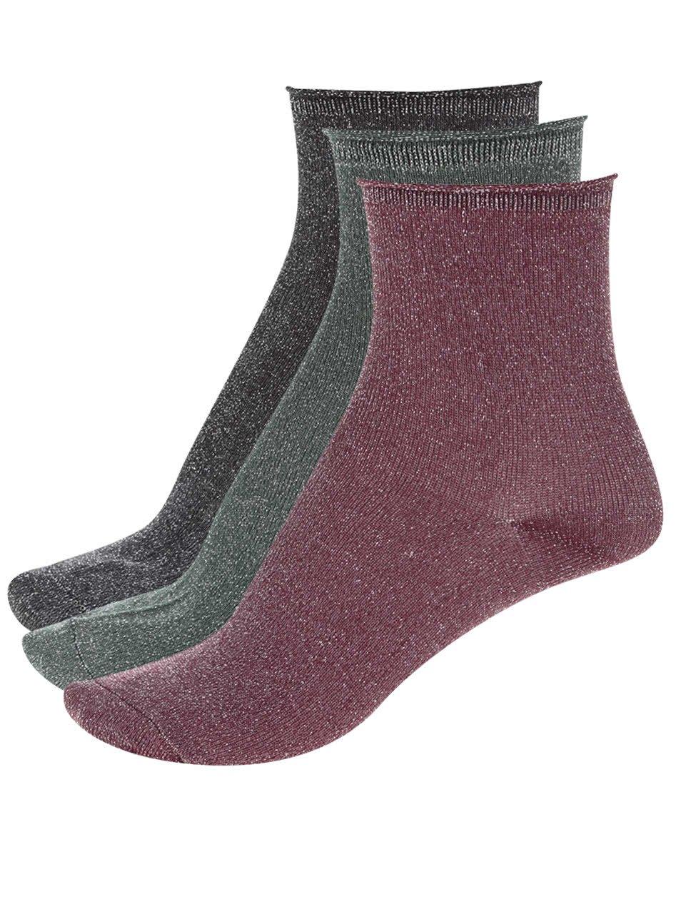 Sada tří párů barevných ponožek s metalickým vláknem ONLY Simla