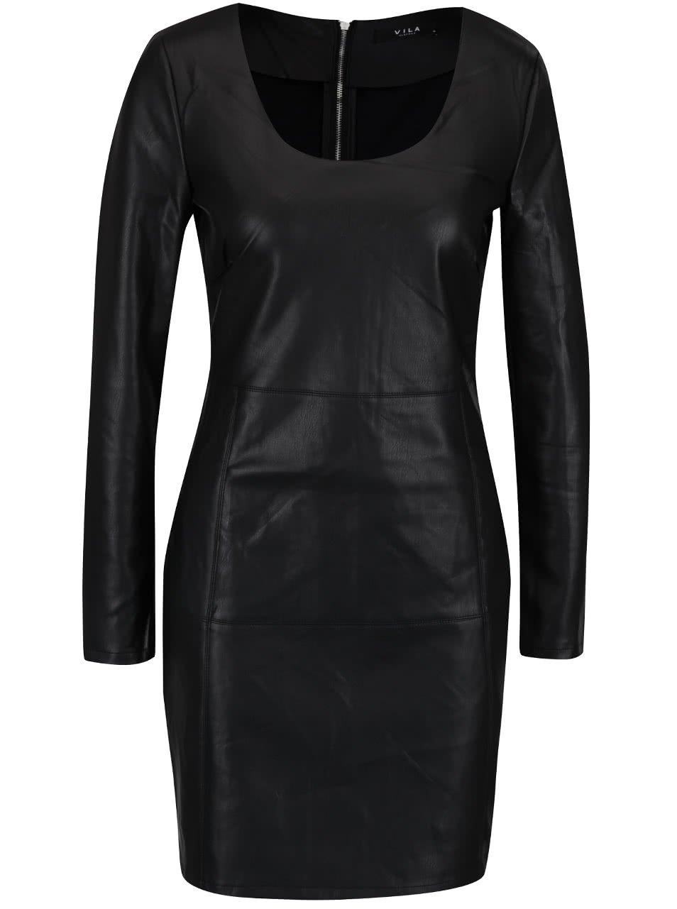 Černé koženkové šaty s dlouhým rukávem VILA