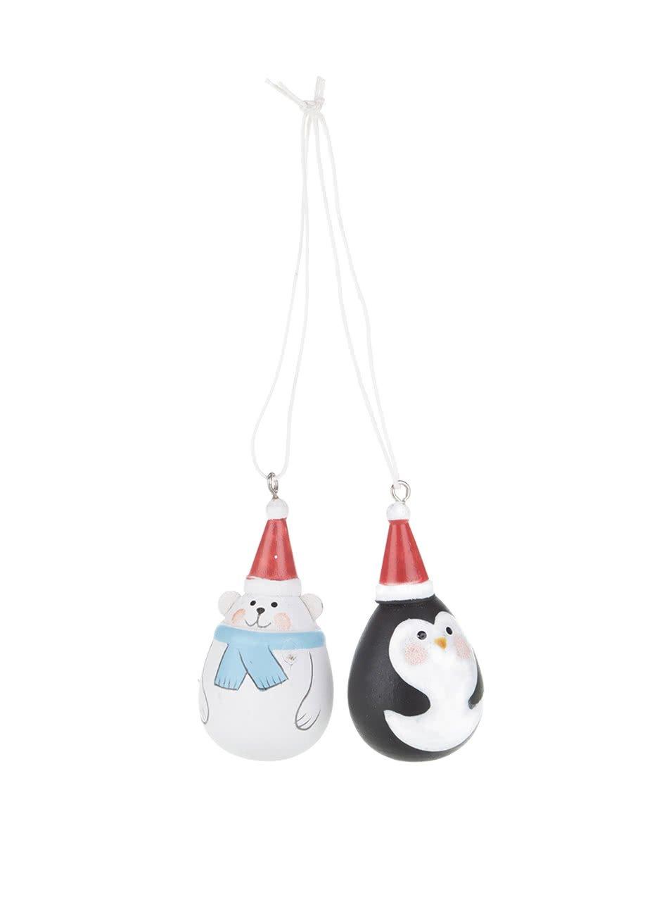 Sada dvou ozdob ve tvaru tučňáka a medvěda Sass & Belle