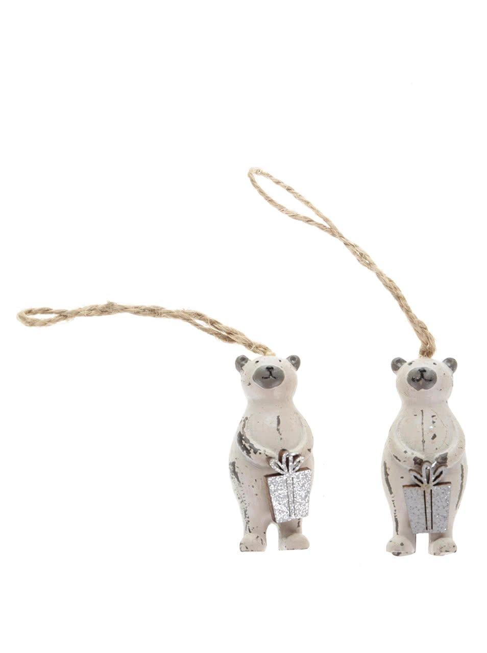 Sada dvou krémových ozdob ve tvaru medvěda s dárkem Sass & Belle