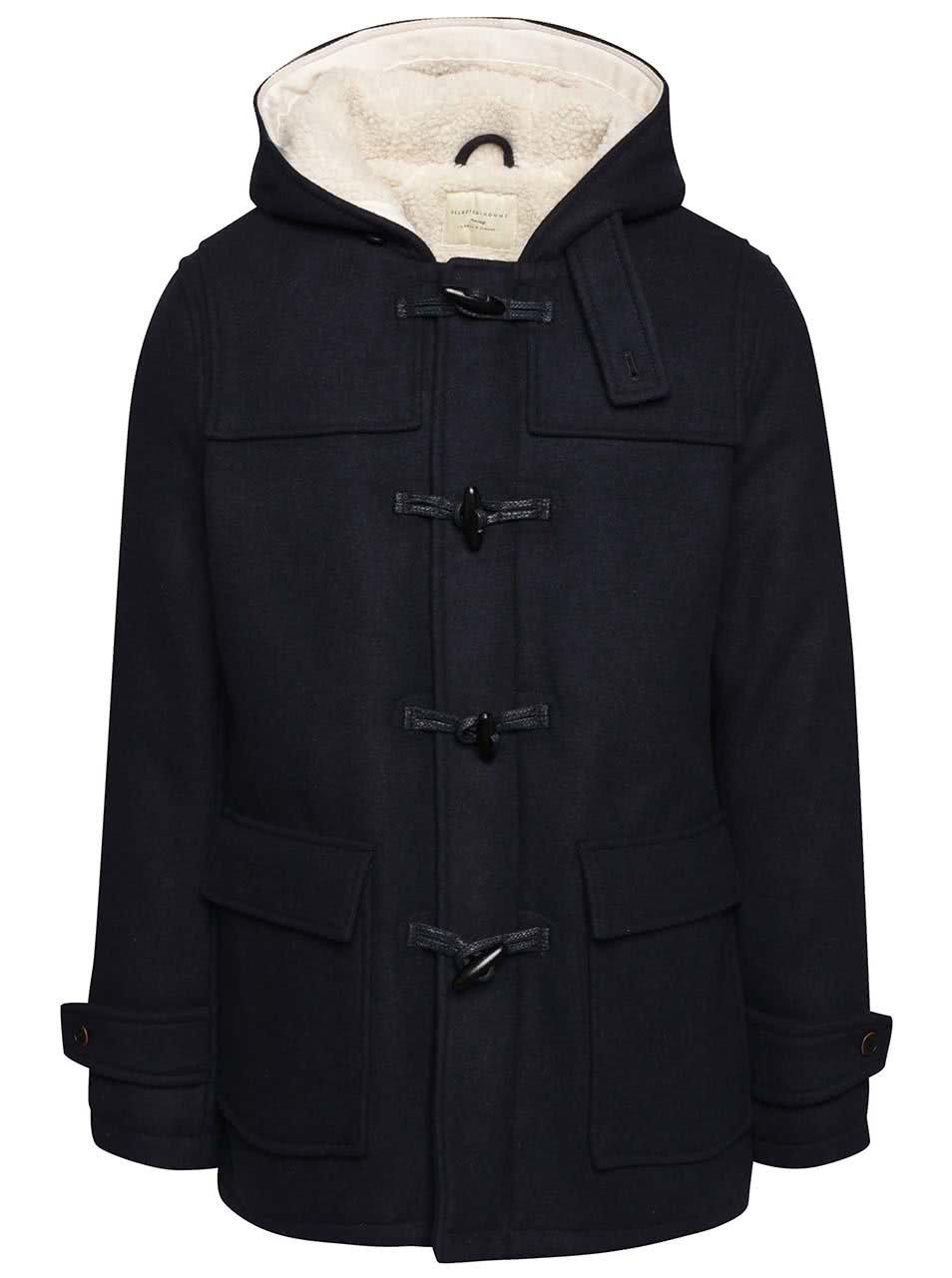 Tmavě modrý vlněný kabát s kapucí Selected Homme Carlyle
