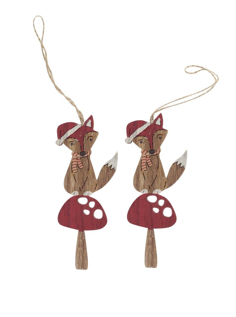 Sada dvou dřevěných závěsných ozdob ve tvaru lišky na muchomůrce Sass & Belle Festive