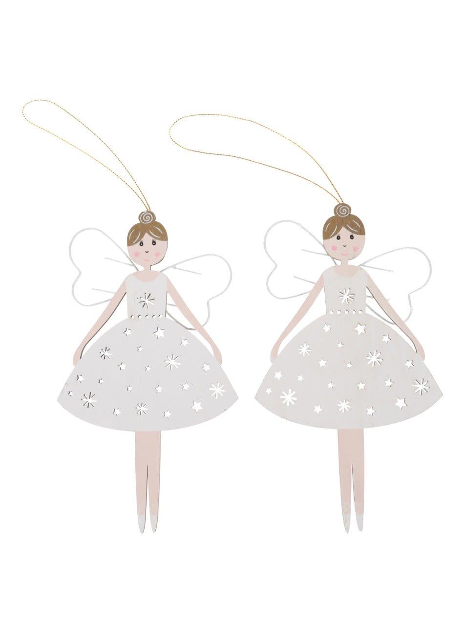 Sada dvou dřevěných ozdob ve tvaru víly Sass & Belle Christmas Fairy