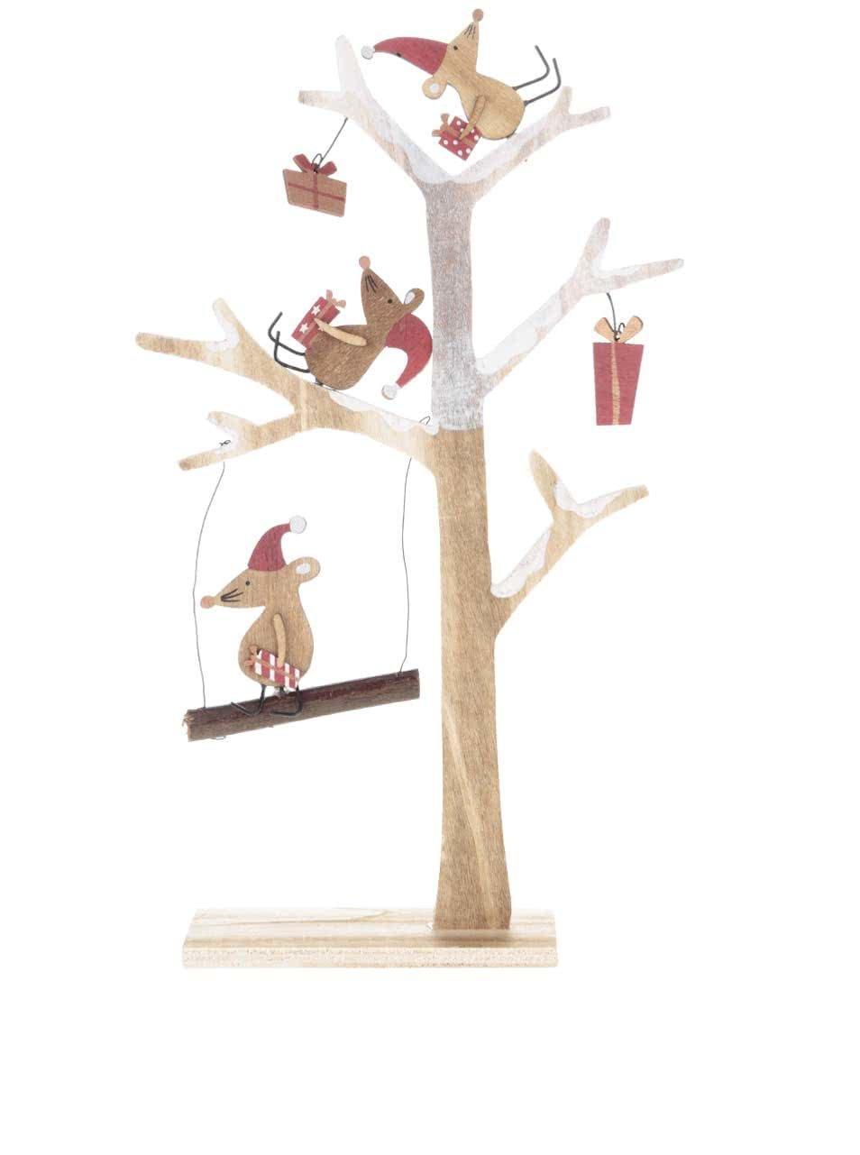 Dřevěná dekorace ve tvaru stromu s myškami Sass & Belle