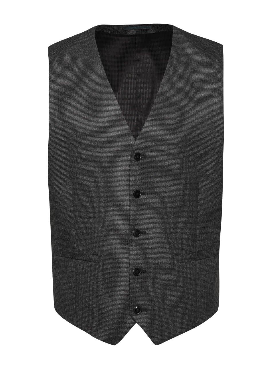 Tmavě šedá vzorovaná vesta Burton Menswear London