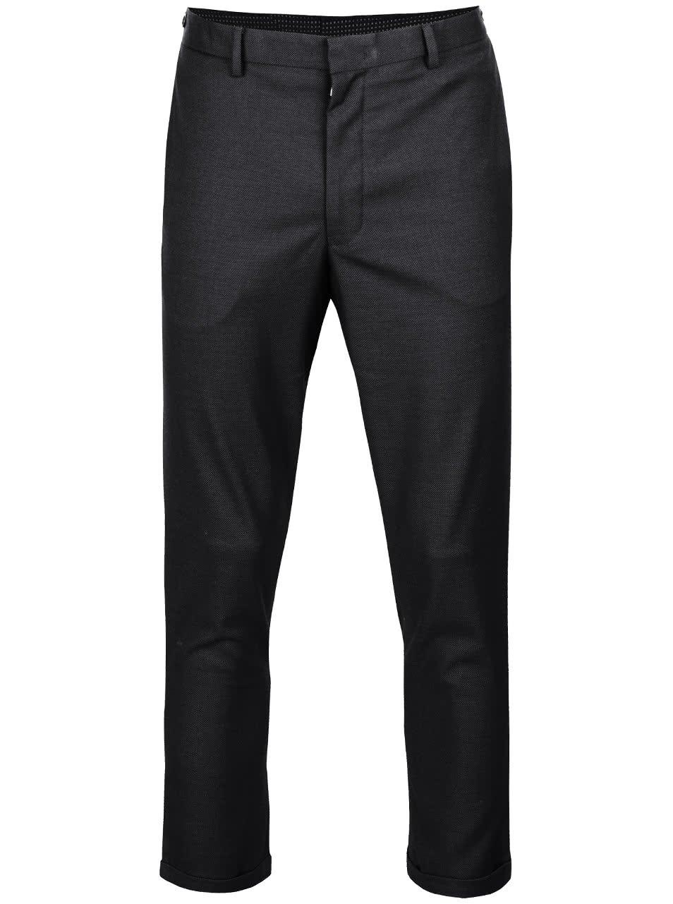 Tmavě šedé vzorované oblekové kalhoty Burton Menswear London