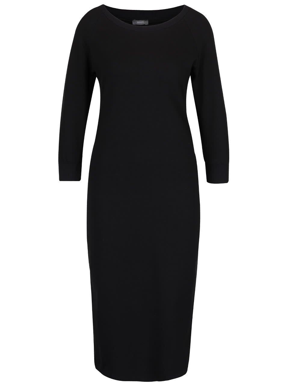 Černé elastické šaty s 3/4 rukávy a rozparkem ZOOT