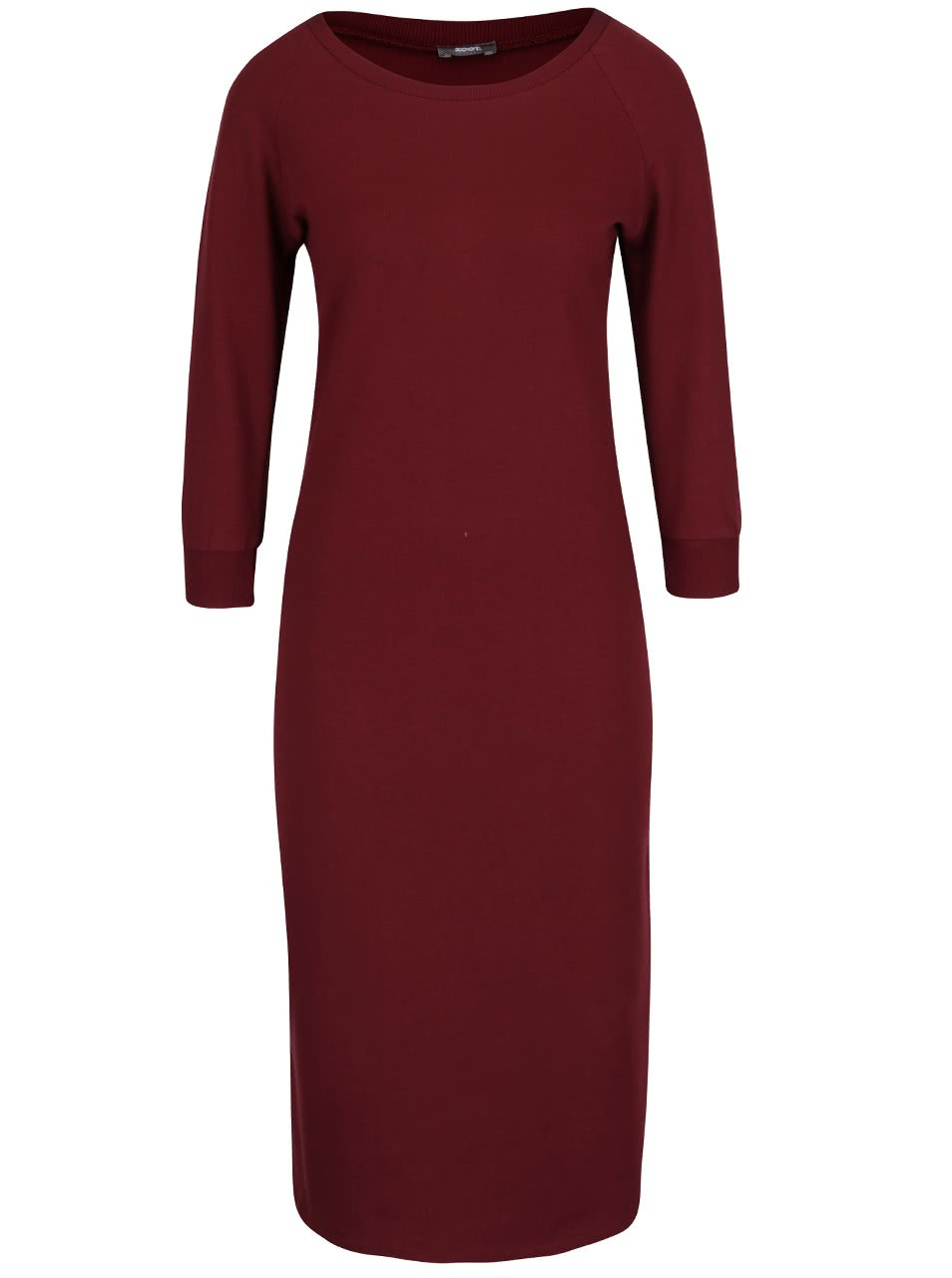 Vínové elastické šaty s 3/4 rukávy a rozparkem ZOOT
