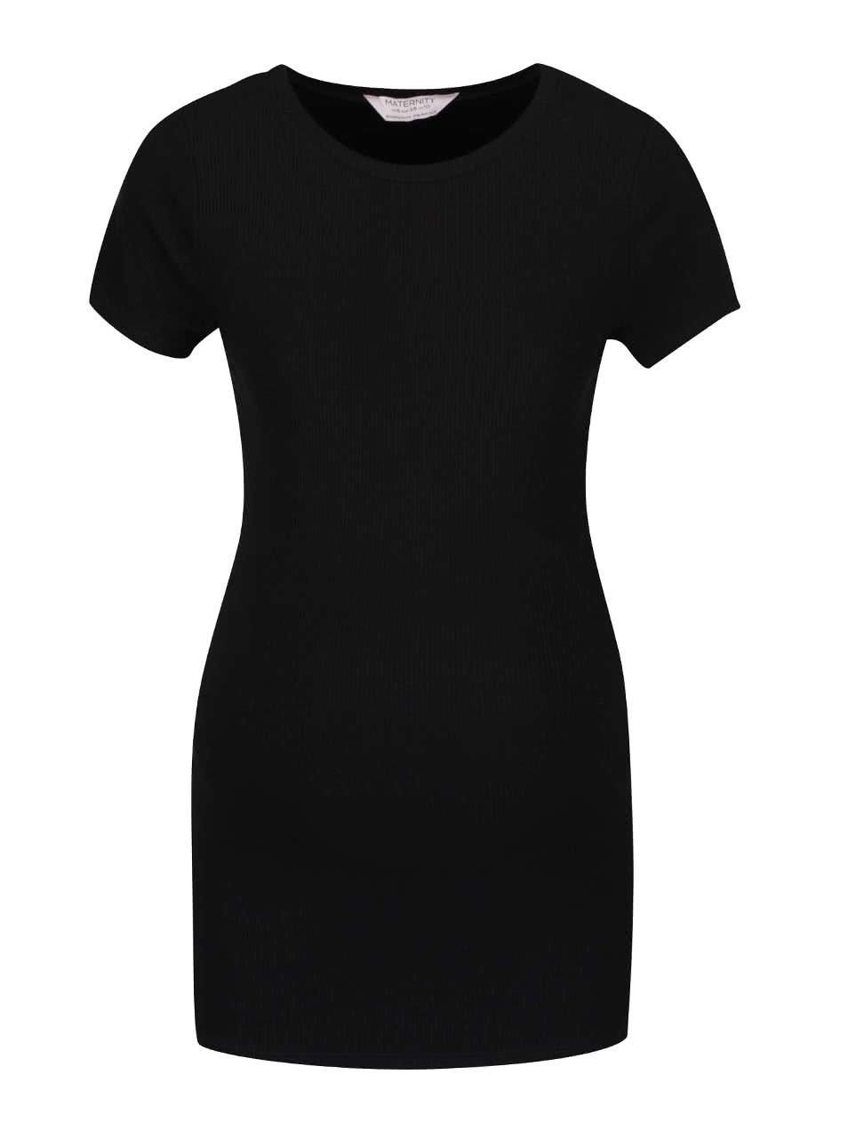 Černé žebrované těhotenské tričko Dorothy Perkins Maternity