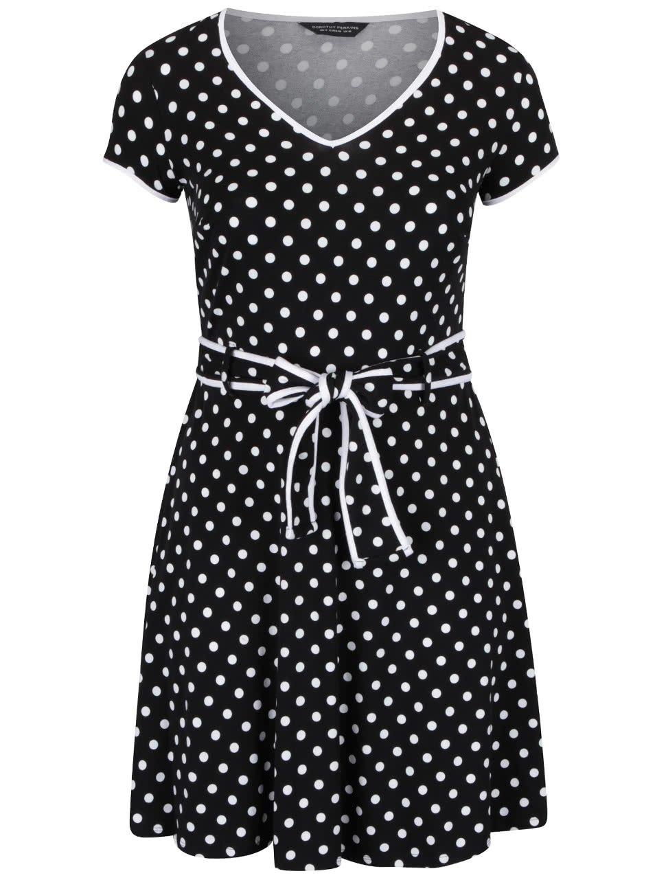 Černé puntíkované šaty s páskem Dorothy Perkins Curve