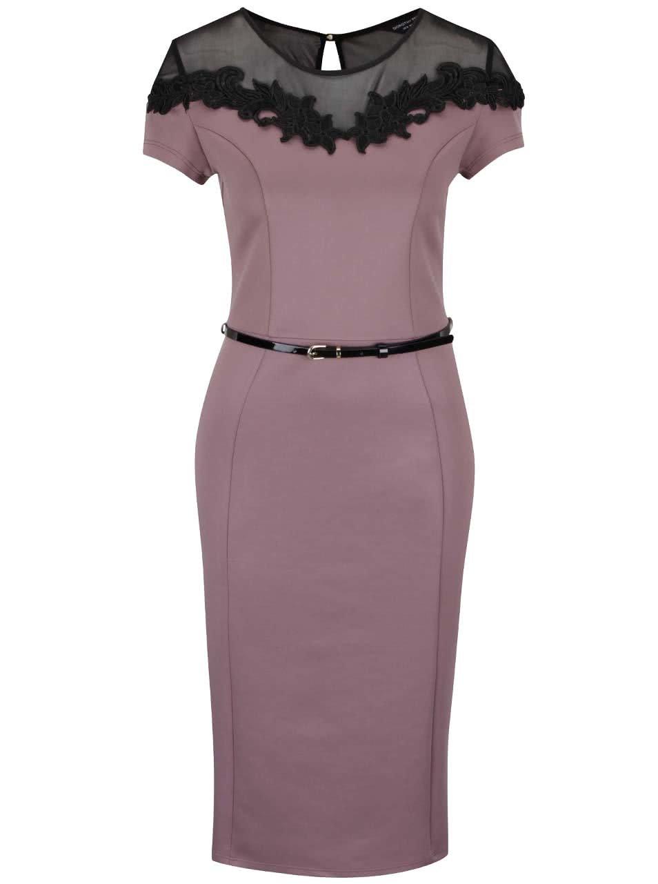 Fialové šaty s černým úzkým páskem Dorothy Perkins