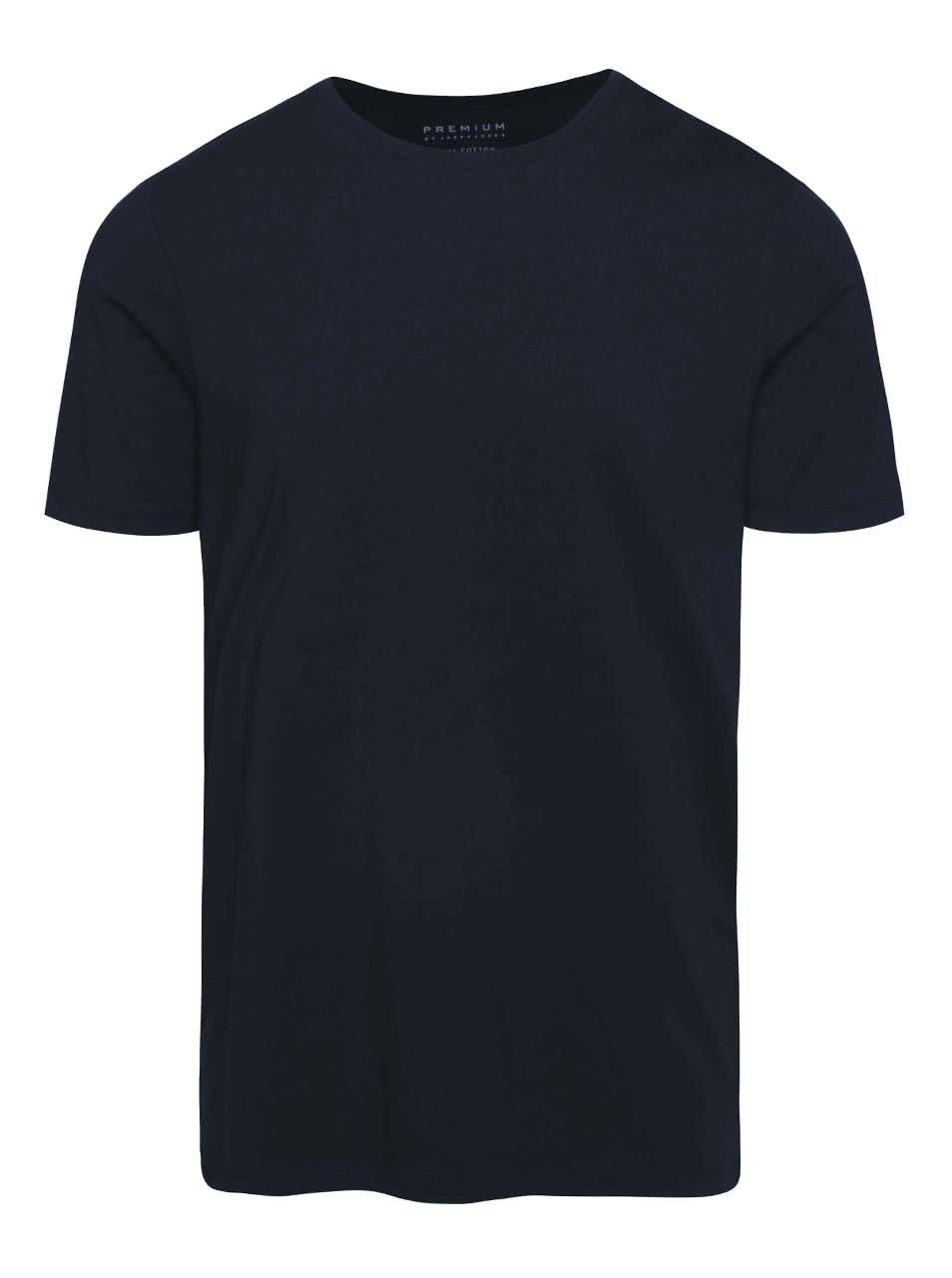 Tmavě modré basic triko s krátkým rukávem Jack & Jones Pima