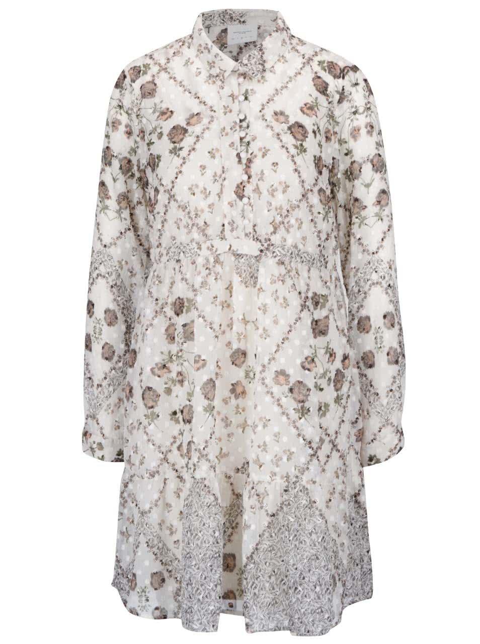 04815467c786 Krémové volnější květované průsvitné šaty s knoflíky a spodničkou Vero Moda  Lucy ŽENY   Šaty