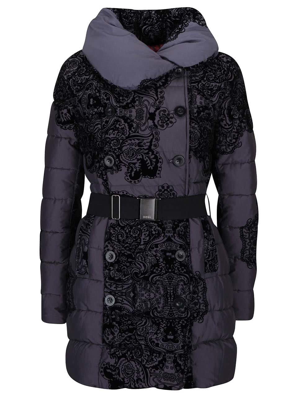 Černo-šedý vzorovaný kabát Desigual Veronica