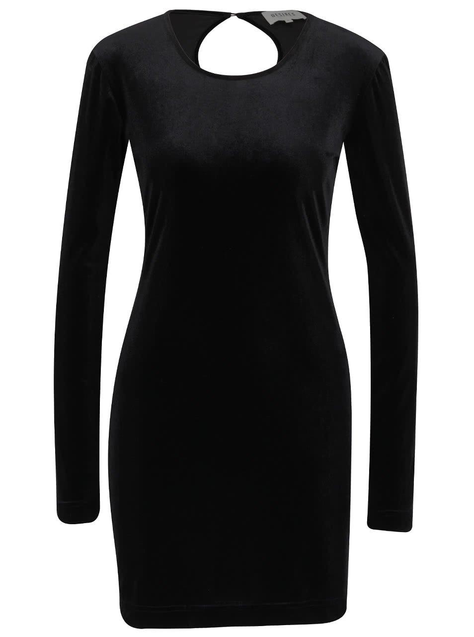 Černé sametové šaty s dolouhým rukávem Desires Gila