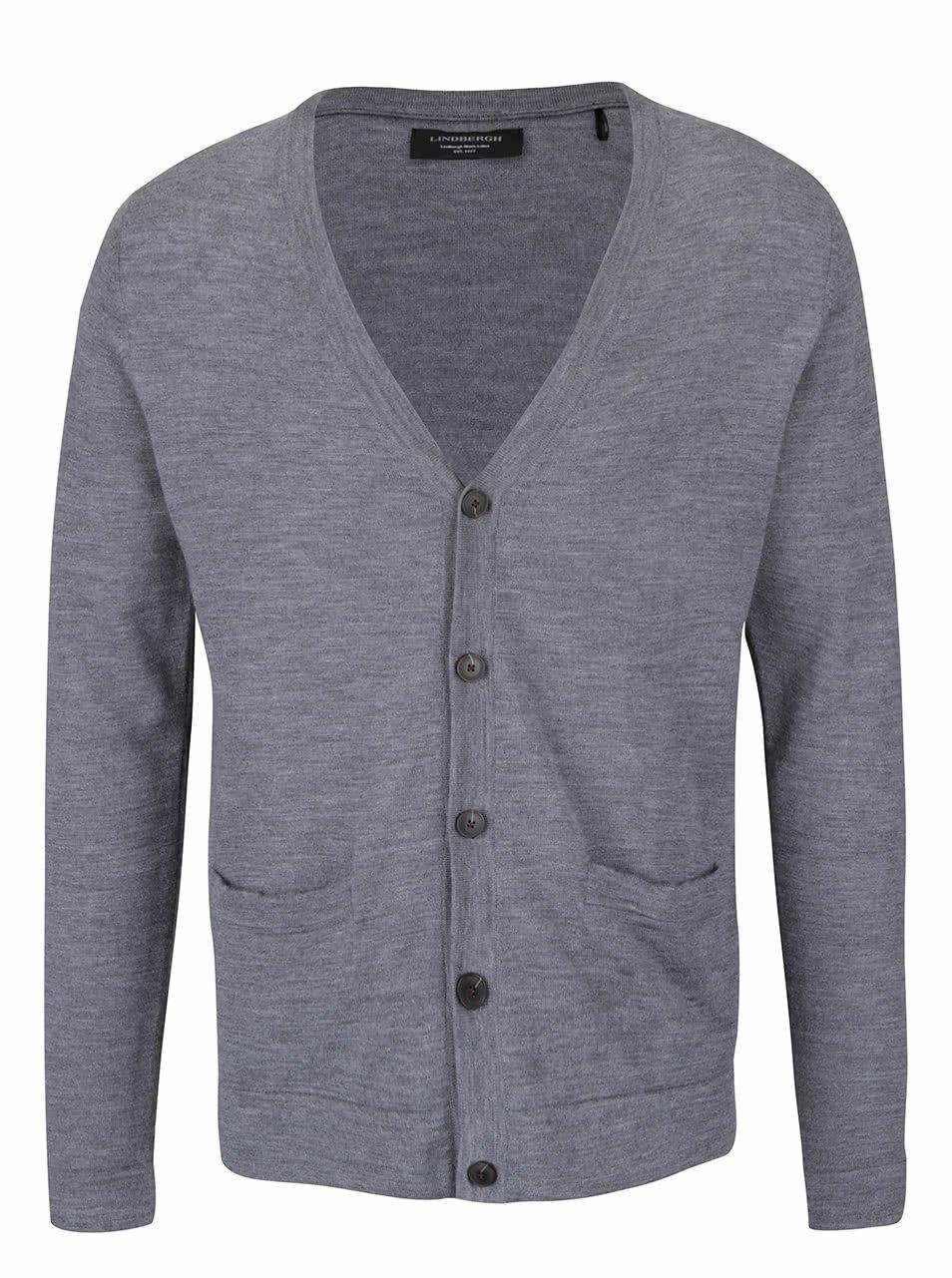Šedý lehký vlněný svetr na knoflíky Lindbergh