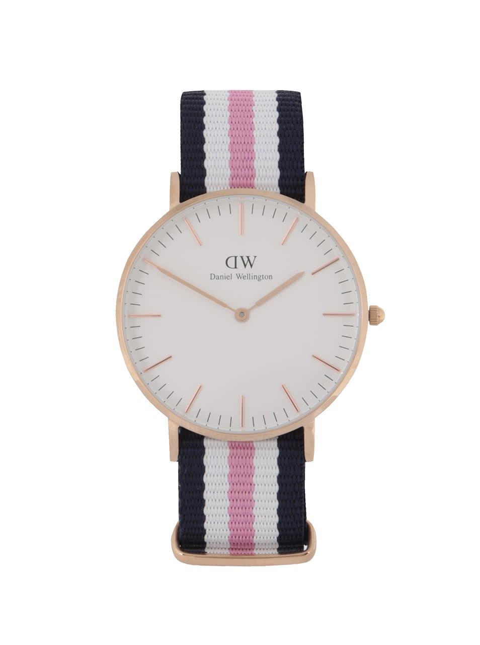 Dámské hodinky ve zlaté barvě s růžovo-bílo-modrým textilním páskem CLASSIC Southhampton Daniel Wellington