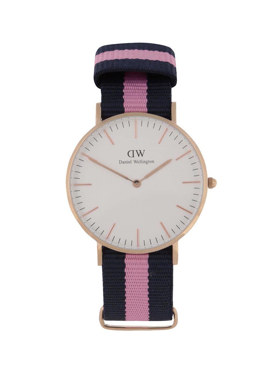 Dámské hodinky ve zlaté barvě s růžovo-modrým textilním páskem CLASSIC Winchester Daniel Wellington